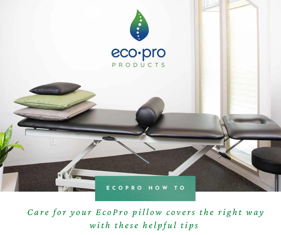 physical therapy office treatment table with ecopro pillow covers stacked on top