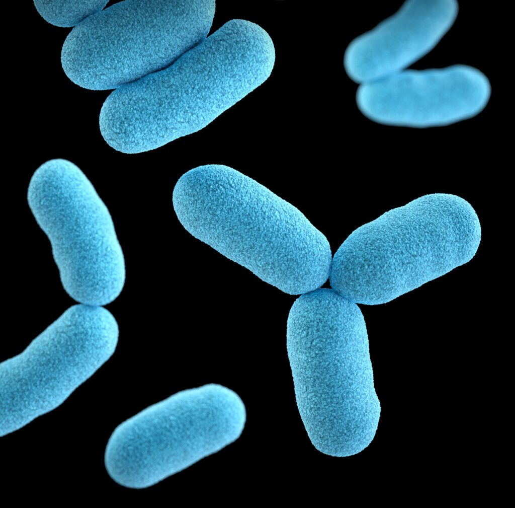 image of blue germs and bacteria. cylindrical shaped